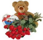 With love selection: a bear toy + box of chocolates + 11 long stem red roses
